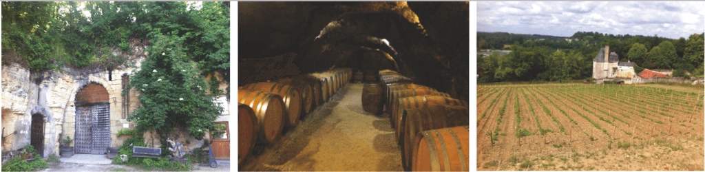 Left to right - The Carême Cellar Door, the barrel hall (located in limestone caves, several metres under the ground, Le Cos vineyard