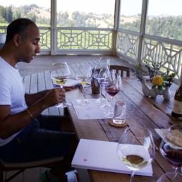 Puneet drinking wine