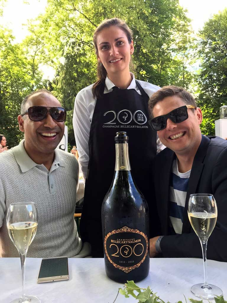 Puneet Dhall and Brandon Nash with Billcart-Salmon 200 champagne bottle