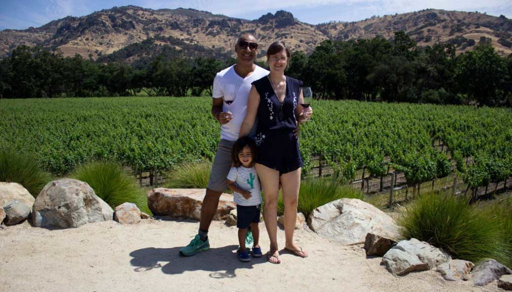Puneet and family at Stag's Leap Wine Cellars vineyard