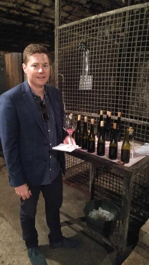 Brandon wine tasting in the Domaine Dujac cellar