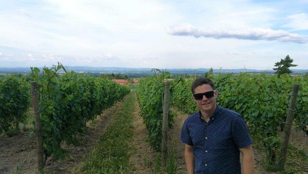 Brandon Nash in the Domaine de Pothiers vineyard, France