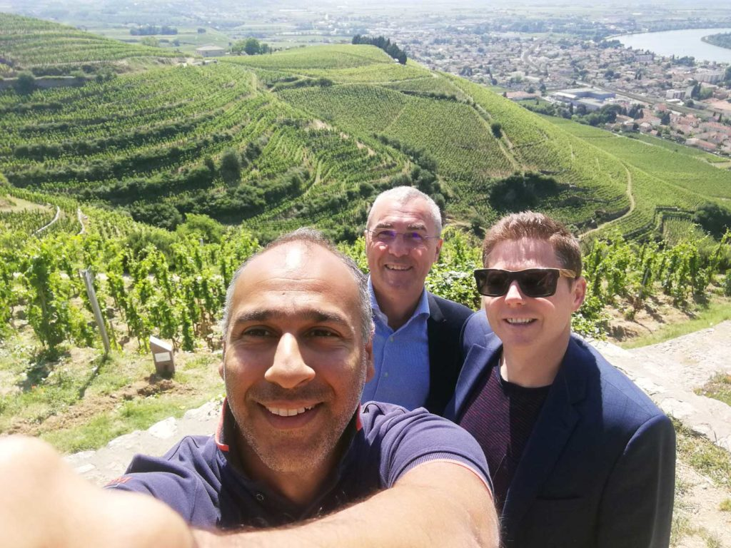 Puneet, Brandon and Jean-Luc at the Paul Jaboulet Aine vineyard