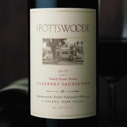 Close up of label on wine bottle